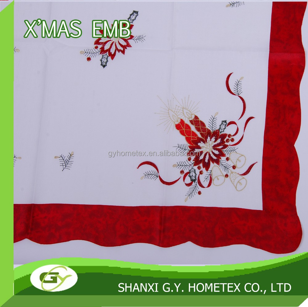 100% polyester christmas flower Embroidery red border table cloth set