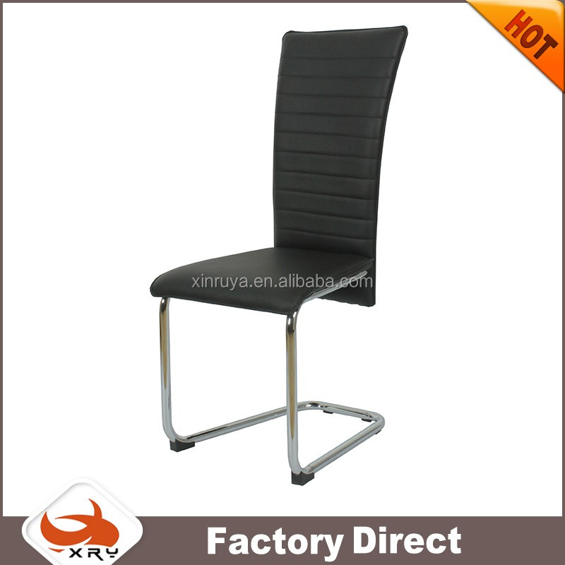 Modern Black PU Bow Shape chromed Steel Leg Dining Chair