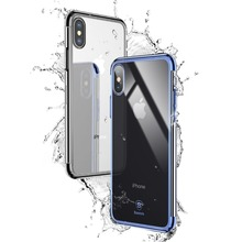 Premium Baseus Glitter Ultra Thin Transparent Clear Hard PC Shining Plating Mobile Phone Back Cover Case For iPhone X 8 7 Plus