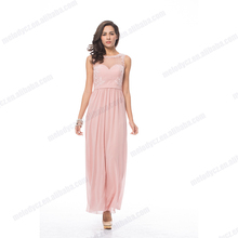 Long pink embroidery tulle wristband chiffon summer sleeveless evening party dress