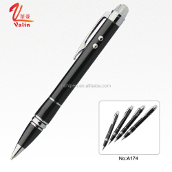 3 in 1 Innovative black multi-function metal ball pen LED ball point pen with highlighter laser pen