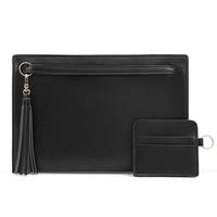 Factory price wholesale simple black pu leather woman clutch bag for party