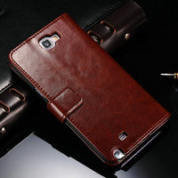Book Wallet Handicraft Luxury Series Genuine Leather case for Samsung Galaxy Note 2