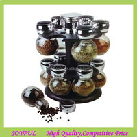 Hotting 8 And 16 PCS Revolving Rack Kitchen Jar Stand Glass Spice Jar Set With Rack