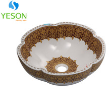 RS-087 Flower design colored countertop ceramic hand wash basin price