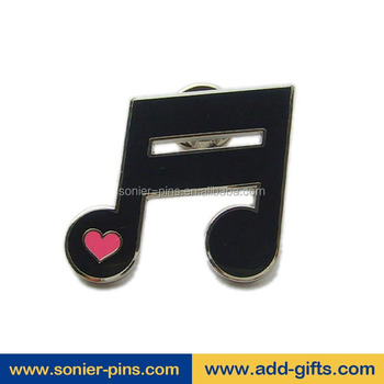Sonier-Pins 2017 hot sale custom metal musical note lapel pin suit pin badge with free design