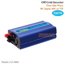 300W Single Phase Inverter, 60V or 72VDC Off Grid Pure Sine Wave Inverter for Solar Or Wind Power System, Surge Power 600W