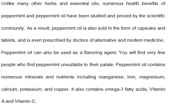 100% Pure Plants Extracts Study Blend Oil Peppermint Essential Oil Professional Supplier