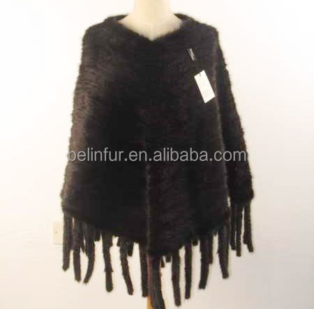 factory price fashion knitted mink fur cape /mink fur shawl