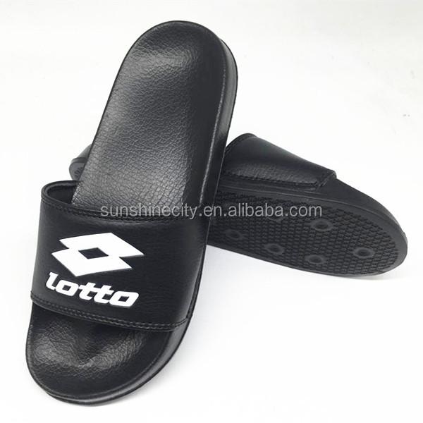 Emboss Custom Logo Soft Slipper In Black