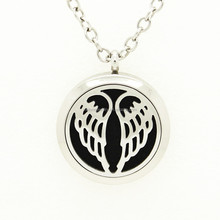 30mm 25mm 20mm Stainless Steel Angel Wing Aromatherapy Essential Oil Diffuser Perfume Locket Pendant