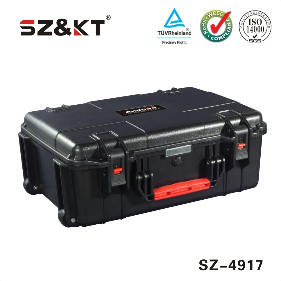 Waterproof wheeled handle portable tool case