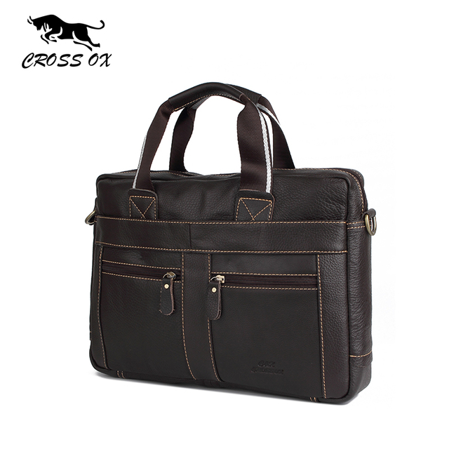 CROSS OX Genuine Leather Men Briefcase Man Bags Business Laptop Tote Bag Men's Crossbody Shoulder Bag Men's Travel Bags HB373M