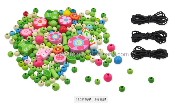 Hot sale colorful Dora flower stringing beads educational wooden toy princess girl loves toy