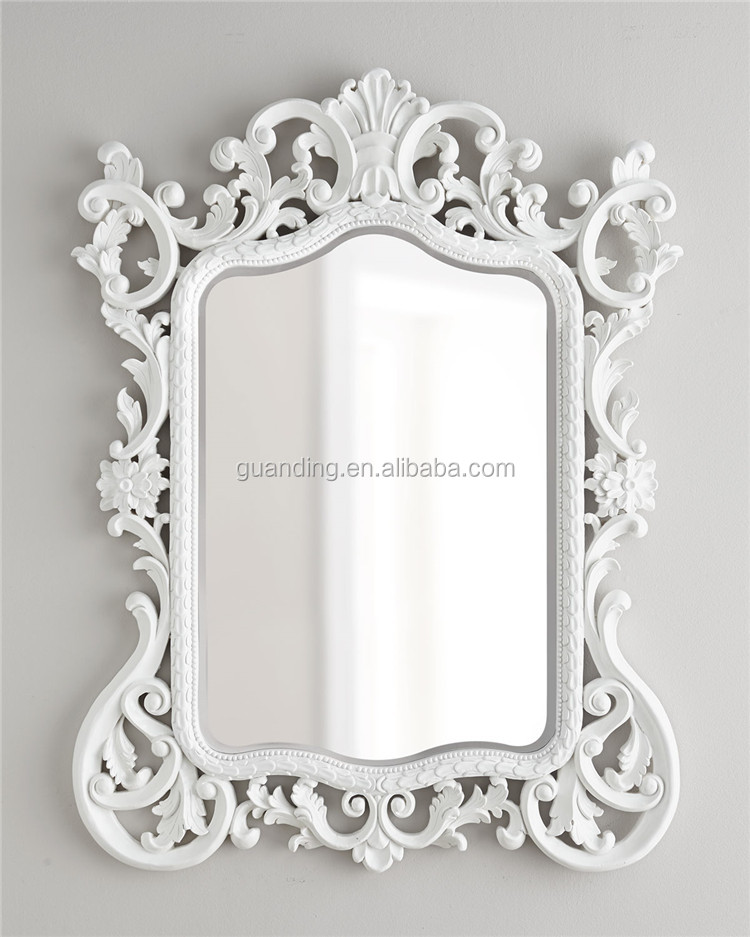 Factory wholesale modern irregular white decorative carved for Large white decorative mirror
