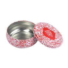 Round bulging drum shaped candle tin box