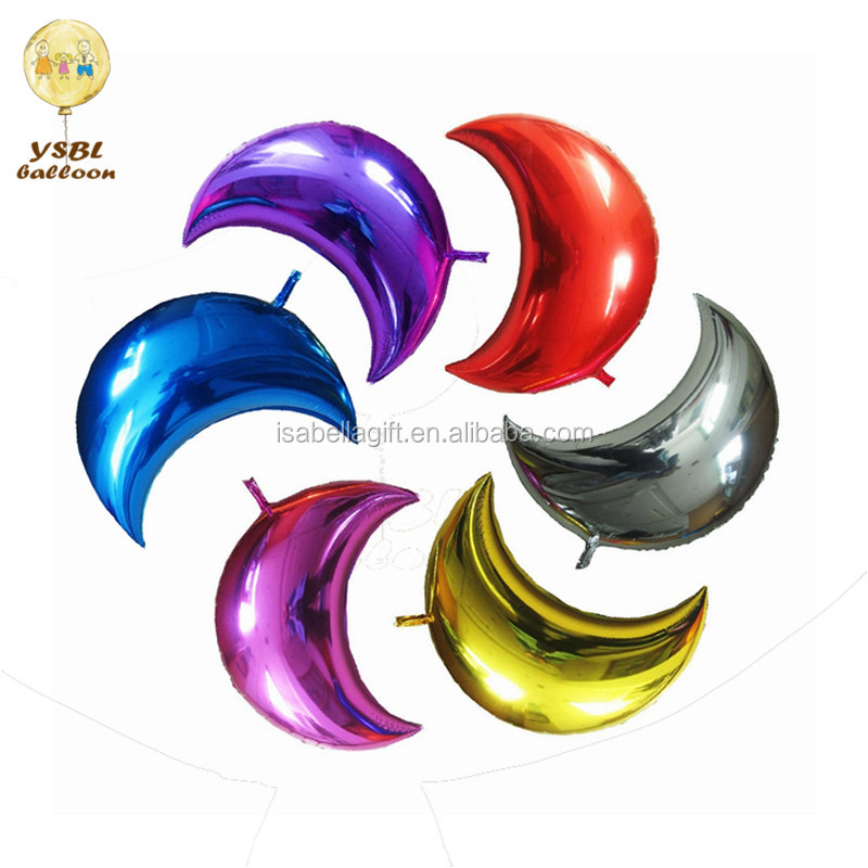 single color moon shaped foil mylar helium balloons for festival decoration
