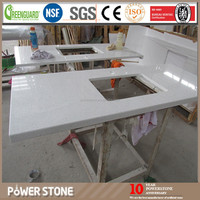 Solid Surface Resin Kitchen Countertop, Beige Quartz Countertops, White Sparkle Kitchen Countertops