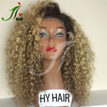 China human hair factory color 27 blonde full lace wig dark roots afro kinky curly wig with light brown/transpapent cap