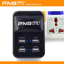 PNGXE high quality hot selling custom 4a micro multi port 4 usb cable wall charger with led