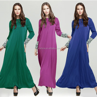 Dubai Islam Garment Solid Color Women Muslim Abaya Dress Elegant Lace Sleeve Maxi Vestidos Jilbab Prayers Isdal Izdal Abaya