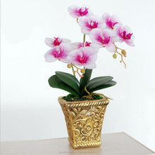 New style silk artificial butterfly orchid with pot for wedding decoration