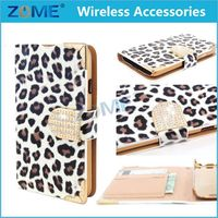 Multipurpose Leopard Print Cell Phone Cover Bling Diamonds Metal Magnetic Closure Flip Folio Leather Case For Samsung G530