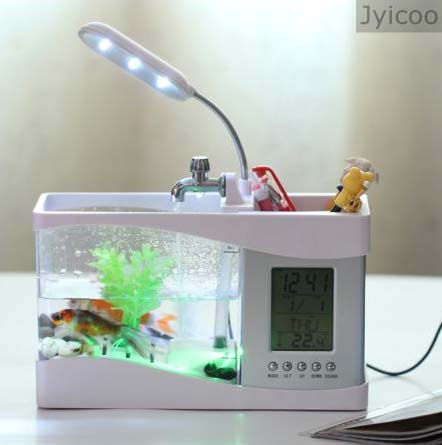 JYX-2010B mini aquarium and fake led lighting <strong>fish</strong> tank bowl with artificial water plants and colorful stones and rocks