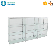 Hot sale three layers cosmetic display cabinet, glass jewelery showcase design