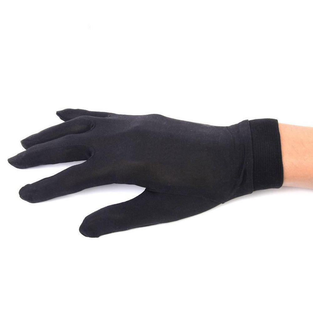 Pure Silk Liner Gloves of Ski Motocycle Skiing Cycling Running Mittens Black