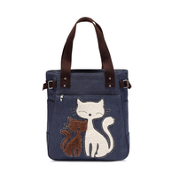 UK Top Quality Man-made Blue Set Auger Canvas Zipper Bags Cute Cat Custom Vintage Shoulder Bag Famous Women Decoration Handbag