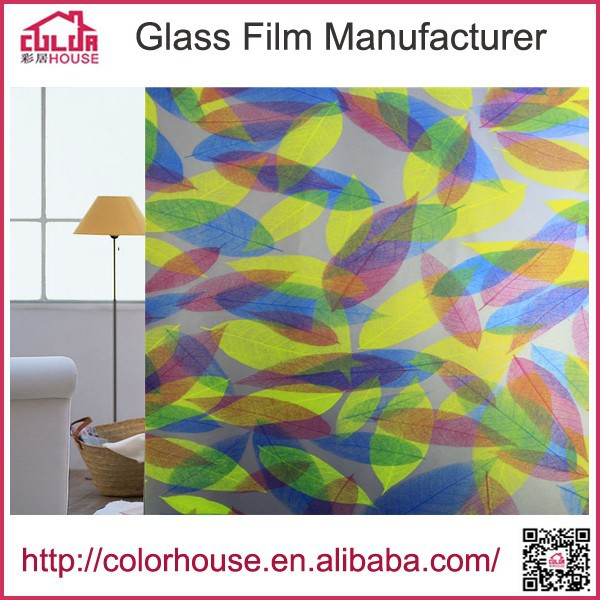 leaves and flowers design pvc stained frosted window film