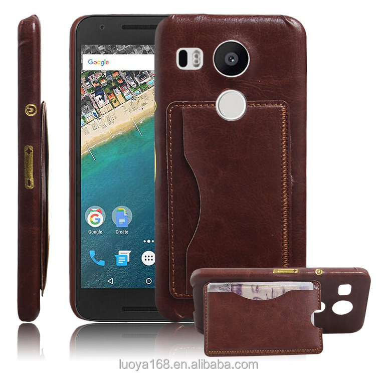 hot selling slim thin card holder mobile phone accessories protective stand leather back cover for LG Nexus 5X leather Case