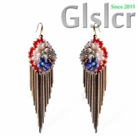 The new European Bohemian crystal earrings, and colorful tassel earrings, temperament T station serves a collection of accessori