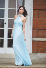 Latest Popular Light Blue Chiffon Bridesmaid Sleeveless Long Cocktail Party Prom Dress