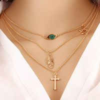 European fashion eye leaf wild temperament simple multi-layer metal necklace clavicle chain clothing accessories Cross