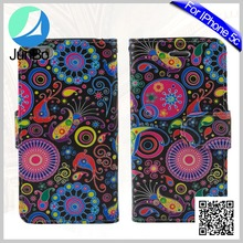 Beautiful Mobile Phone Covers Colourful Printed PU Leather Case For iPhone 5c