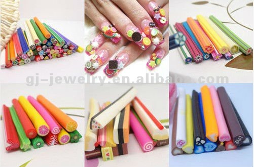 10x Nail Art Fruit,Flower,Animal Mix Cane Rods Slice Decoration 3D DIY Tips