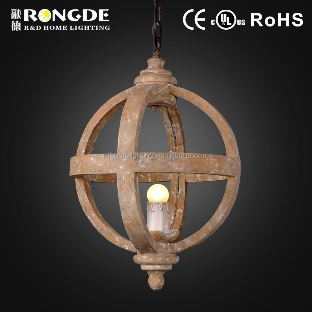 decorative hanging wood round balls pendant lights for coffee house