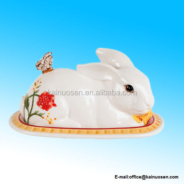 Flower Market Covered ceramic rabbit Butter Dish