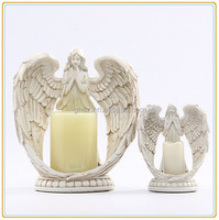 Custom christmas decoration modern candle holders quality resin angel statue candlestick holder