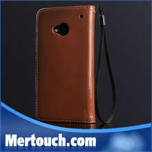 For HTC One M7 flip leather case wallet card holder with lanyard phone case for HTC one M7