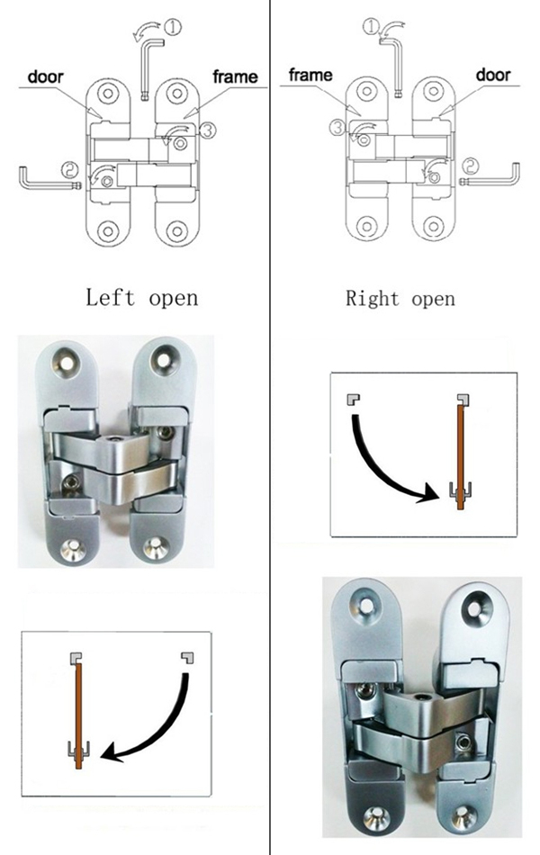 koblenz kubica 180 degree zinc alloy 3d adjustable 40mm thick door concealed hinges