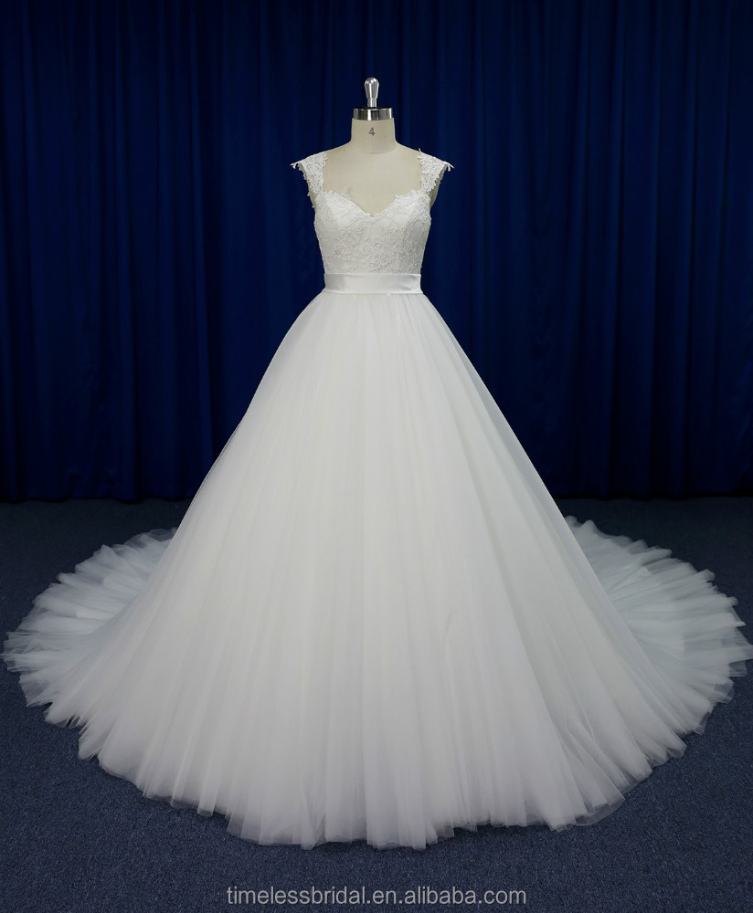 2015 cap sleeves high waisted ball gown long tail wedding dress with duchess satin belt