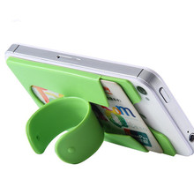 3M one touch wing design silicone rubber cell phone stand card holders/silicone stand card holder with build-in stands