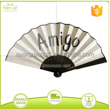 chinese large logo printed bamboo fabric men's hand fan