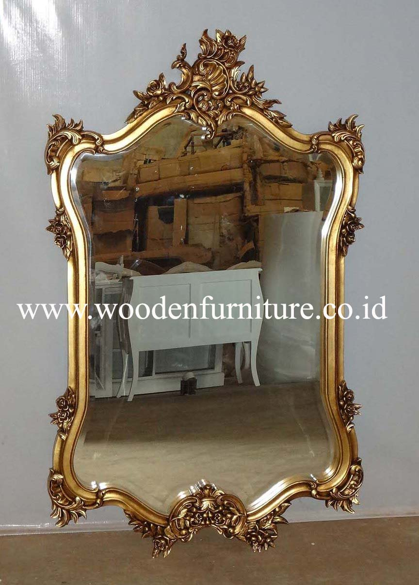 Solid Mahogany Frame French Style Mirror Classic Painted Wooden Accessories Antique Reproduction Vintage European Home Furniture