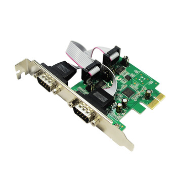 IOCREST AX99100 Chipset PCI-e 2 Ports DB-9 RS-232 Serial multi port riser Card with LP Bracket