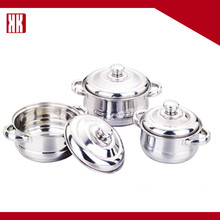 New Design Mirror Polishing Single Bottom Cooking Pot Set Stainless Steel Kitchen Cookware