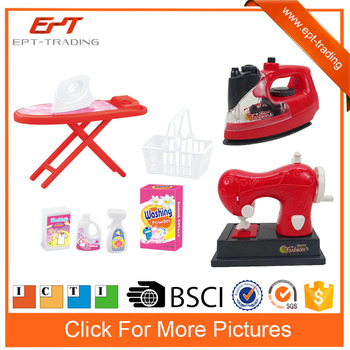 Red color ironing board&iron play set for girls plastic furniture toys